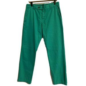 Brooks Brothers Milano Fit Green Flat Front Chinos Size 33 X 32
